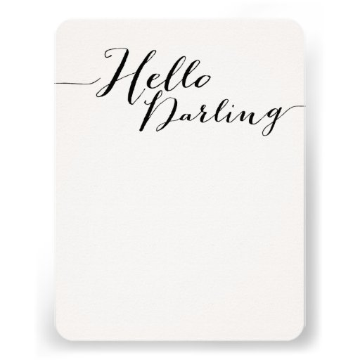 Black Hello Darling Flat Note Cards