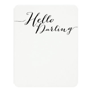 Black Hello Darling Flat Note Cards Custom Announcements