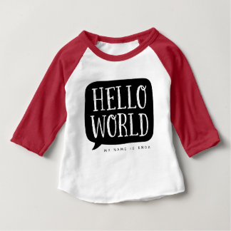 Black Hello World Personalized Name Baby T-Shirt