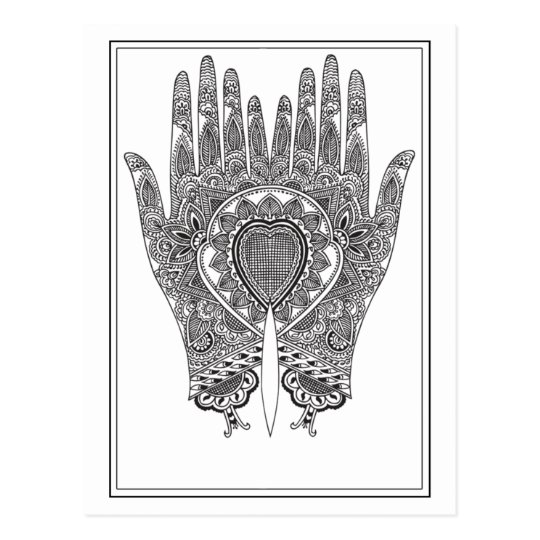 Black Henna Hands Postcard