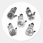Black Henna Tattoo Hands Round Sticker