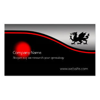 Black Heraldic Dragon, red spot, metallic-effect Pack Of Standard Business Cards