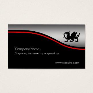 Black Heraldic Dragon, red swoosh, metallic-effect