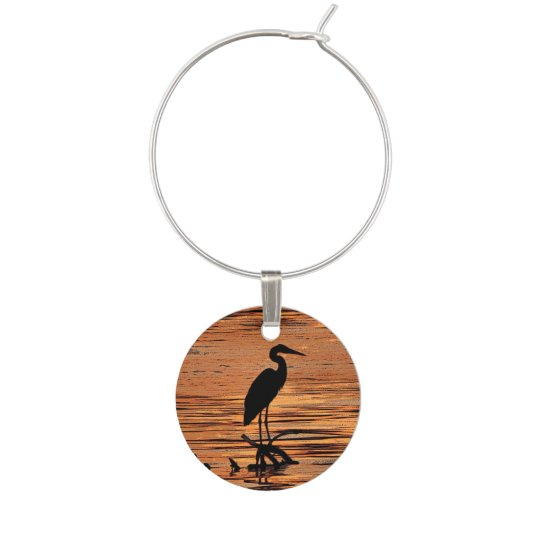 Black Heron Bird at Orange Sunset Wine Charm
