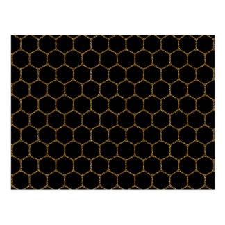 Black Hexagon Pattern in Gold Glitter Frame Postcard