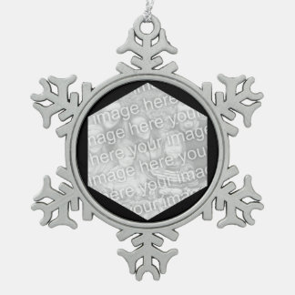 Black Hexagon Photo Border Pewter Snowflake Decoration