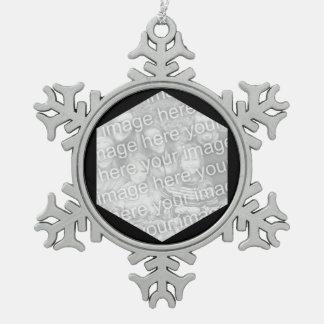 Black Hexagon Photo Border Snowflake Pewter Christmas Ornament