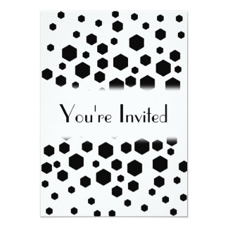 Black Hexagons. 13 Cm X 18 Cm Invitation Card
