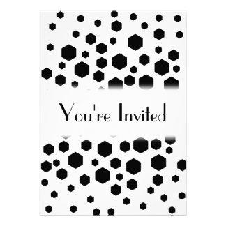 Black Hexagons Personalized Invitations
