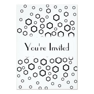 Black Hexagons. Pattern. 13 Cm X 18 Cm Invitation Card