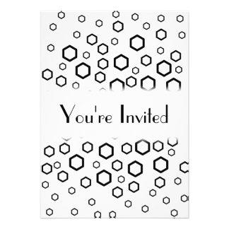 Black Hexagons Pattern Invitations