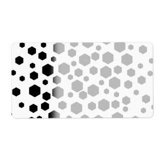 Black Hexagons. Shipping Label