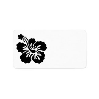 Black Hibiscus Address Label