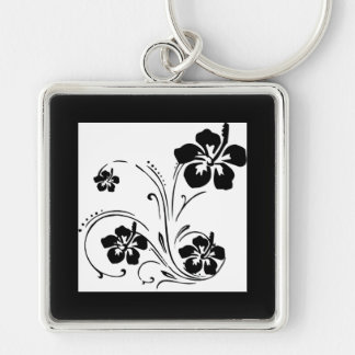 Black hibiscus floral swirl designs Silver-Colored square key ring
