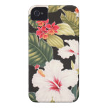 Black Hibiscus Hawaiian Aloha Shirt Retro iPhone 4 iPhone 4 Case
