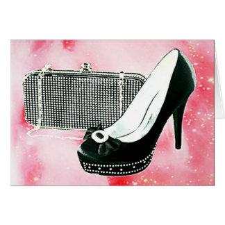 Black High Heel and Clutch Card