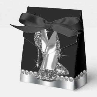 Black High Heel Glitter High Heel Shoe Party Favor Box