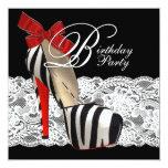Black High Heel Shoes Red Zebra Birthday Party Invitations