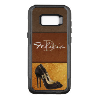 Black High Heels Gold Brown Typography OtterBox Commuter Samsung Galaxy S8+ Case