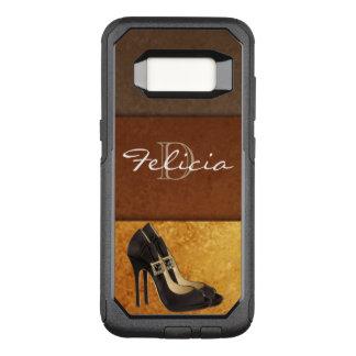 Black High Heels Gold Brown Typography OtterBox Commuter Samsung Galaxy S8 Case