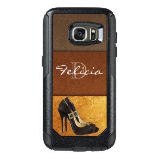 Black High Heels Gold Brown Typography OtterBox Samsung Galaxy S7 Case