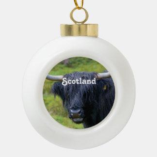 Black Highland Cow Ceramic Ball Decoration