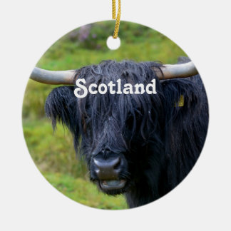 Black Highland Cow Double-Sided Ceramic Round Christmas Ornament