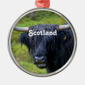 Black Highland Cow Silver-Colored Round Decoration