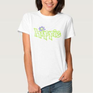 Black Hippie Graphic White Lime Green Word Art Shirts