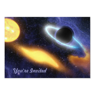 Black Hole and Star 5x7 Paper Invitation Card