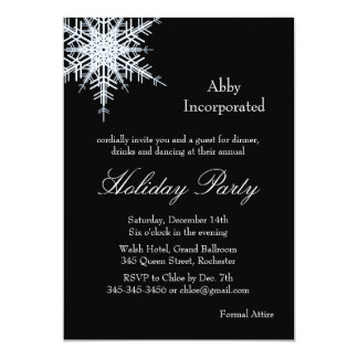 Black Holiday Offset Snowflake Invitation (corp)