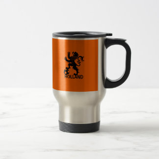 Black Holland Lion - Dutch Soccer Lion 15 Oz Stainless Steel Travel Mug