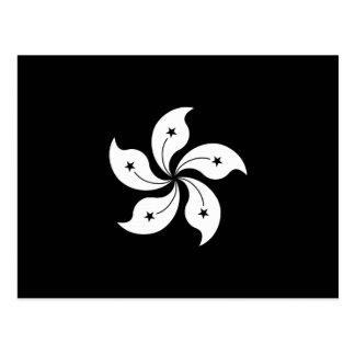 Black Hong Kong Orchid Flower Regional Flag Postcard