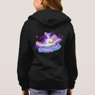 Black Hooded Girls Gymnastics Jacket Zip Custom