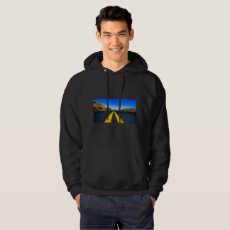 Black hoodie with Image of a divided road on front