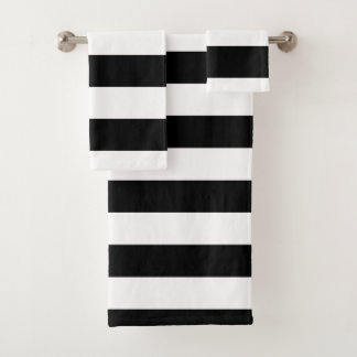 Black Horizontal Stripes Bath Towel Set