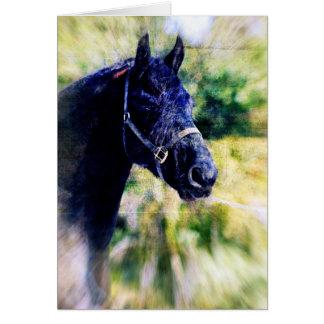Black Horse Digital Art Greeting Card
