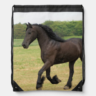 Black Horse Drawstring Bag