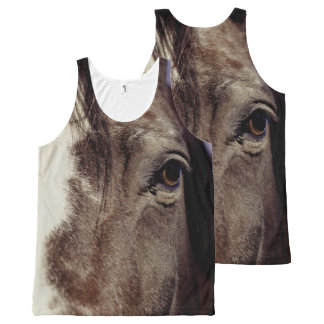 Black Horse Face with Eye All-Over Print Tank Top