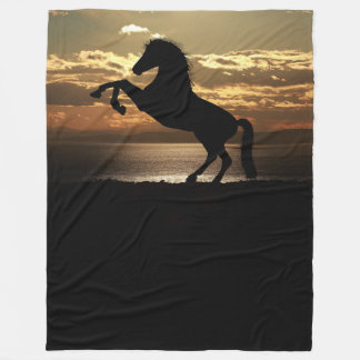 Black horse fleece blanket