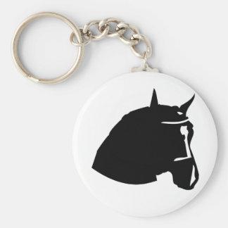 black horse head basic round button key ring