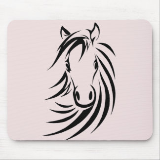 Black Horse Head  on Pink Mouse Mat