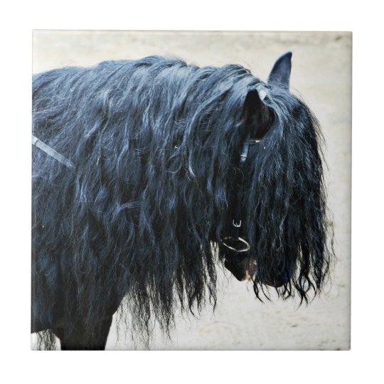 Black Horse Head Small Square Tile