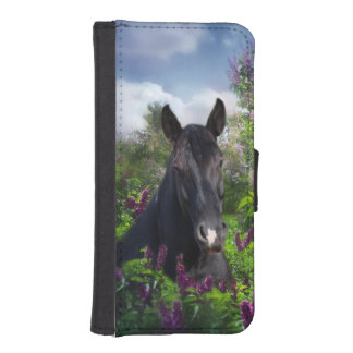 Black horse in flowers iPhone SE/5/5s wallet case