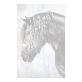 Black horse in forest stationery