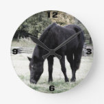 Black Horse in Rural Farm Field Grazing Wall Clock
