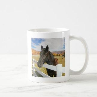 Black Horse In The Pasture Basic White Mug
