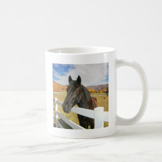 Black Horse In The Pasture Classic White Coffee Mug