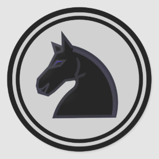 Black Horse Knight Chess Piece Round Sticker