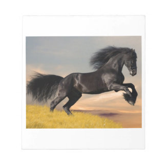 black horse on desert notepad